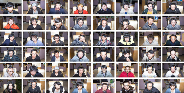 "Foto: Tripty Tamang Pakhrin, Portraits of the gamers engrossed in their screens, from the series ""Planet Wangba""."